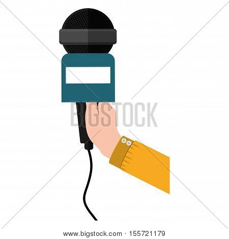 hand holding microphone with yellow support vector illustration