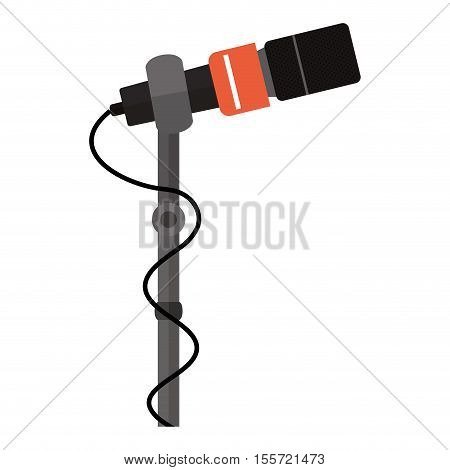microphone stand with square grid vector illustration