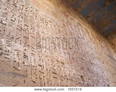 Detail Of The Hieroglyphs On A Large Wall Of The Ramses Three Temple, Medinet Habou, Louxor, Egypt