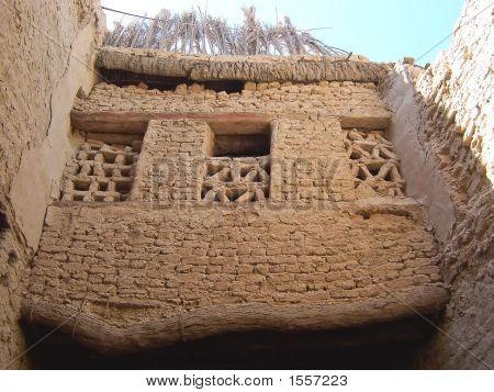 Egyptian Wall With Windows Of Bricks Of Dry Mud, El Qasr, Oasis Of Dakhla, Lybian Desert, Egypt