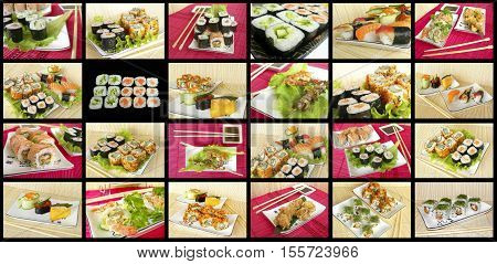Various types of Japanese rolls and snacks on straw mat.