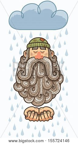 Concept Illustration of homeless man with big beard begging.