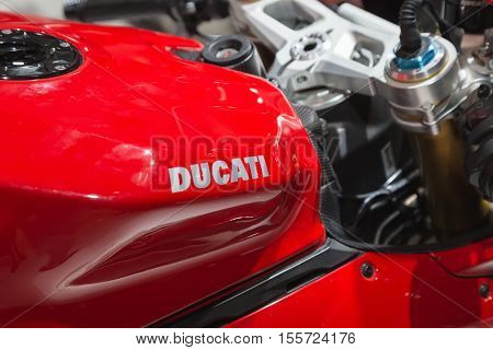 Detail Of Ducati Motorbike On Display At Eicma 2016 In Milan, Itally