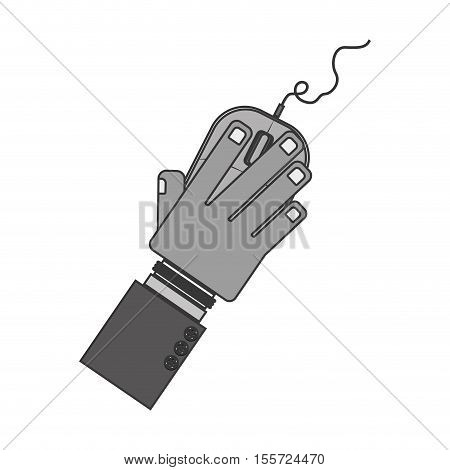 silhouette hand with computer mouse and wired vector illustration