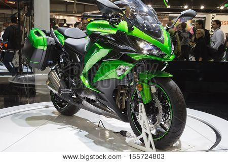 Kawasaki Motorbike On Display At Eicma 2016 In Milan, Itally