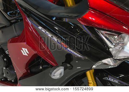 Detail Of Suzuki Motorbike On Display At Eicma 2016