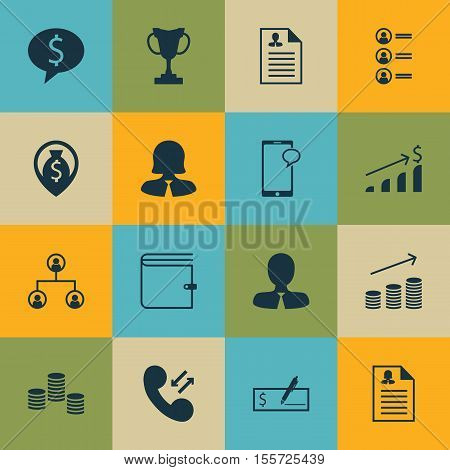 Set Of Management Icons On Wallet, Tree Structure And Business Deal Topics. Editable Vector Illustra