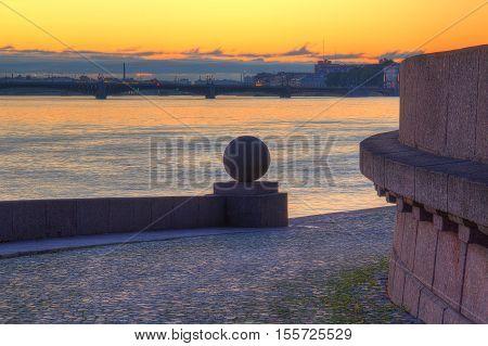 Spit of Vasilyevsky Island and Neva River at dawn Saint Petersburg Russia