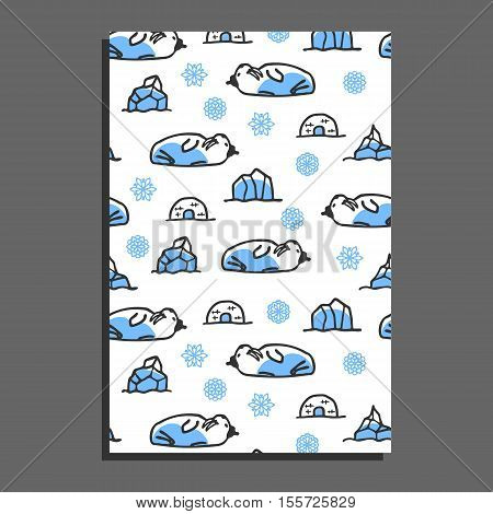 Greeting card template with cute cartoon walrus. Vector doodle walrus, snowflakes, and icebergs. Arctic animal wears hat