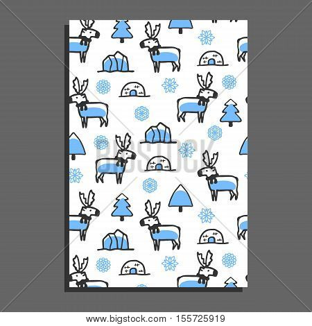 Greeting card template with cute cartoon reindeer. Vector doodle caribou, snowflakes, and icebergs. Arctic animal wears scarf