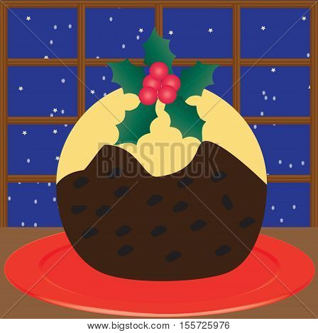 A Christmas Pudding decorated with Holly with a snowflake and star background