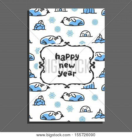 Happy new year card with cute cartoon walrus. Vector doodle snowflakes, and icebergs. Arctic animal wears hat