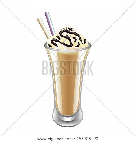 Frappe iced coffee isolated on white vector illustration