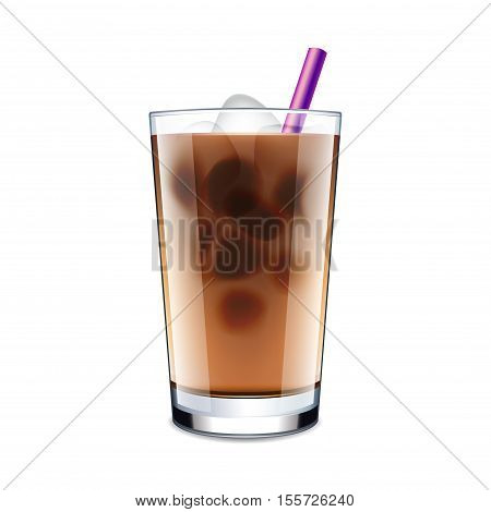 Ice coffee isolated on white photo-realistic vector illustration