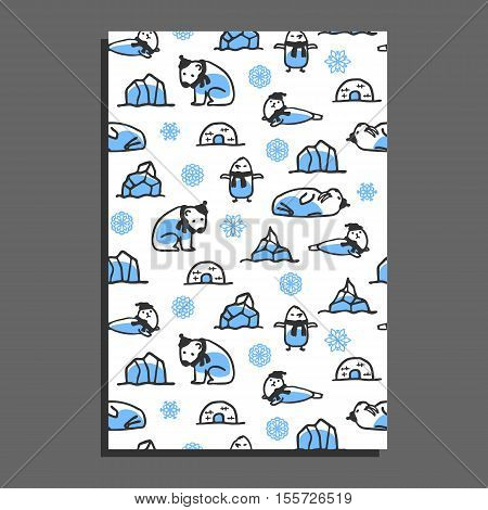 Greeting card template with cute cartoon polar bear, seal, walrus and penguin. Vector arctic animals wear scarves