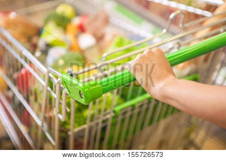 Closeup of woman hands with shopping cart.