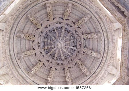 Roof Of Marble Of A Jain Temple, Ranakpur, India