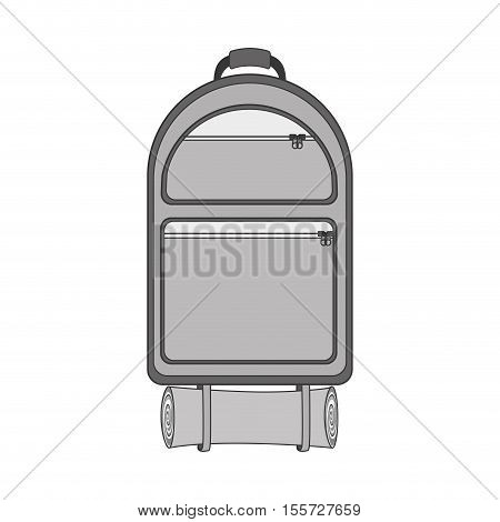 monochrome backpack camping with sleeping bag vector illustration