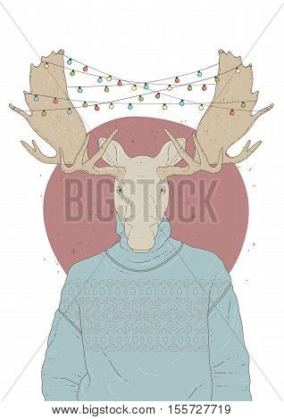 Illustration with portrait of moose in pullover and christmas garland. Vector illustration isolated on white.