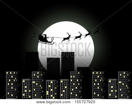 Santa Claus in a sleigh in a reindeer sleigh flying over the city. Santa Claus in a sleigh on a background of the moon. Vector illustration.