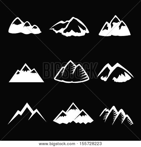 Mountain white icons set. Tourism, hiking and camping simbols. Graphic travel silhuettes Vector