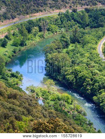 Summer Valley River Tarn. Millau, France.