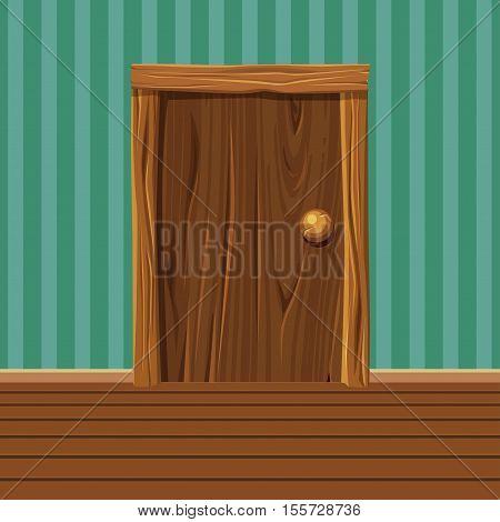 Cartoon Wooden old Door, Home Interior in vector