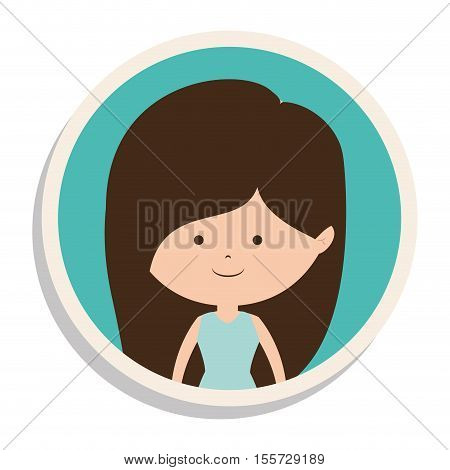 round frame and girl in dress with brown hair vector illustration