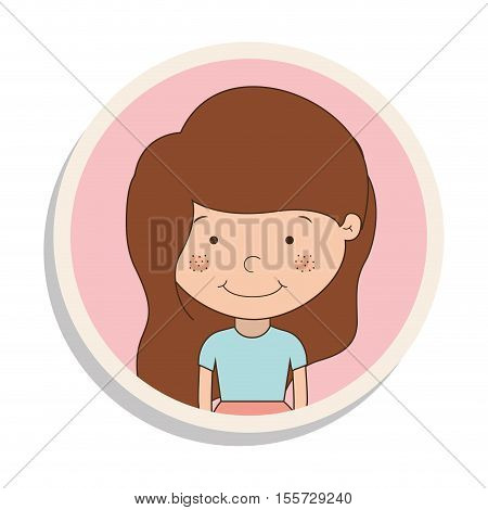 round frame with girl of brown hair and t-shirt vector illustration
