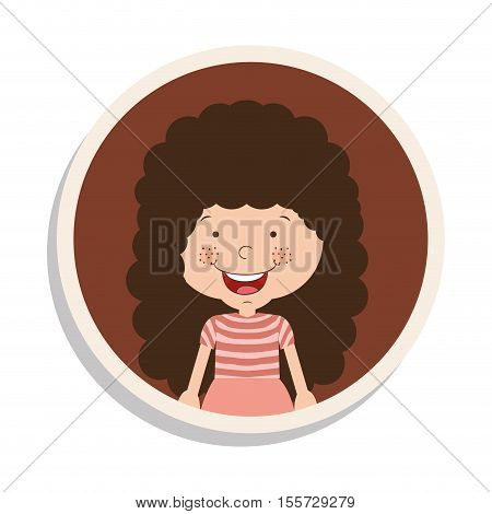 round frame and girl with curly hair and smiling vector illustration