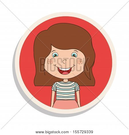 round frame and girl smiling with brown hair vector illustration