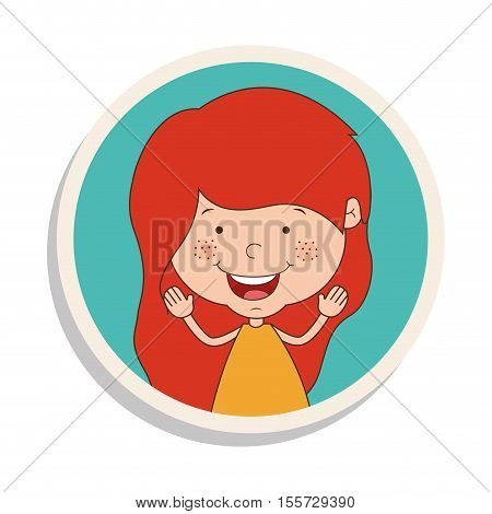 round frame and girl smiling and redhead vector illustration