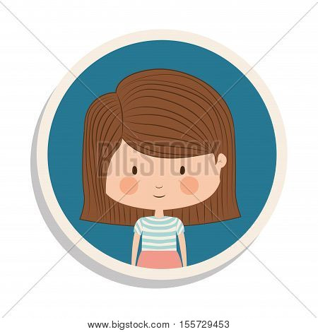 round frame and girl with striped short hair vector illustration