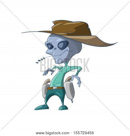 Colorful vector illustration of a cartoon grey Alien