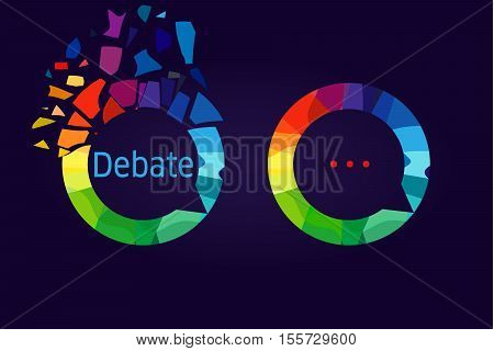 The debate logo. Colored debris in the shape of dialog cloud icon. Broken pieces of glass. The sign of discussion group, club, school or conference. The diversity of opinions symbol.