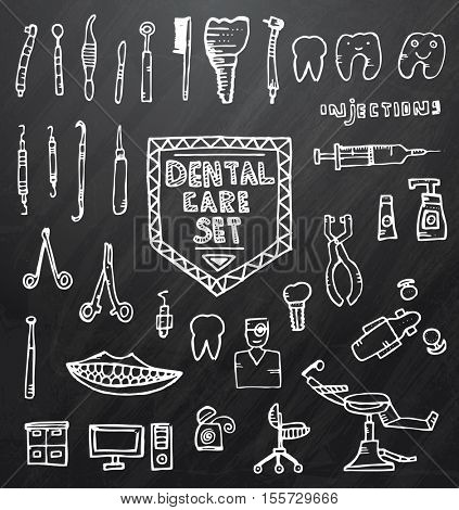 Dental Care Set with Different Hand Drawn Icons on Black Chalk Board. Vector Illustration.