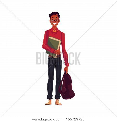 College, university student, geek in square glasses holding backpack, cartoon style illustration isolated on background. African Male student with books and backpack wearing large glasses and bow tie