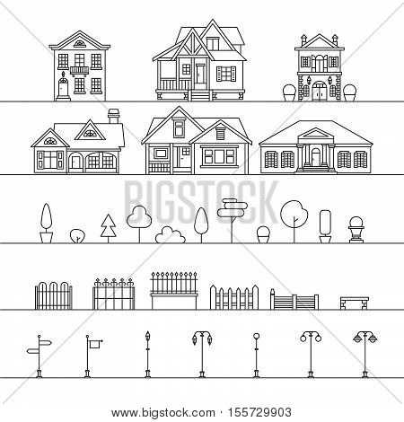 Vector outdoor elements: houses, fences, trees, street signs and lamps. Street elements isolated on white.