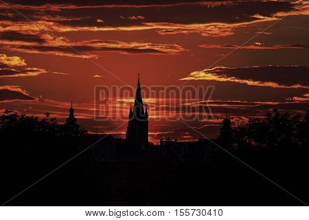 The Silhouette of the Old Town Sibiu Romania in the evening light