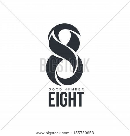 Black and white number eight logo template made of abstract shapes, vector illustration isolated on white background. Black and white number eight graphic logotype
