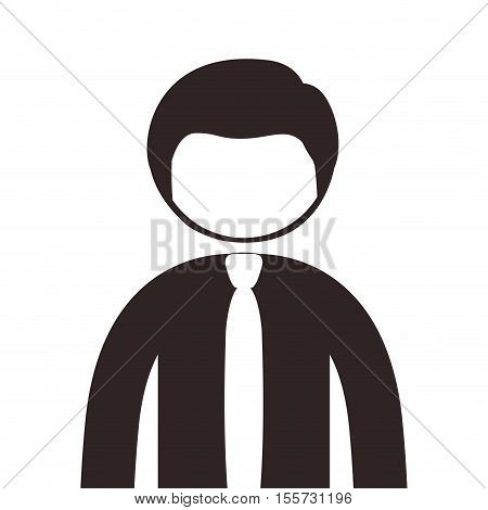 silhouette half body man with shirt and tie vector illustration