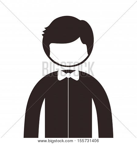 silhouette half body man with bowtie vector illustration