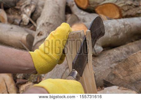 Trimming Firewood With A Billhook Machete
