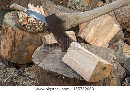 Rusty axe alongside chunks of firewood with a billhook machete on a pile of sticks in the background poster