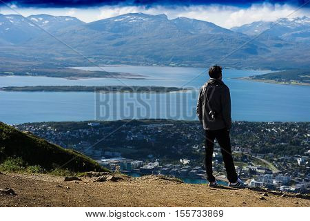 Man watching on Norway fjord landscape background hd
