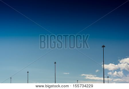 Vertical Norway steet city lamps on blue sky background hd
