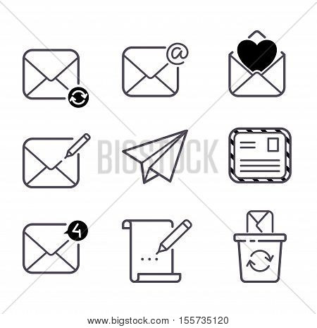 Envelope mail icons plane shopping and other icons for e-mail. Mail icons symbol message letter send. Web communication mail icons address business correspondence interface.