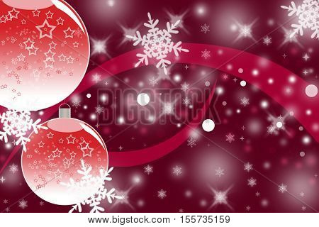 Two red glass ornament balls on a red background with a bright sparkles and a ribbon as a Christmas theme