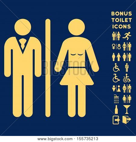 Toilet Persons icon and bonus man and lady lavatory symbols. Vector illustration style is flat iconic symbols, yellow color, blue background.