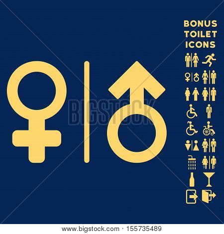 WC Gender Symbols icon and bonus man and female lavatory symbols. Vector illustration style is flat iconic symbols, yellow color, blue background.